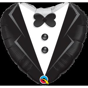 "18"" Foil Wedding Tuxedo (pkgd.), QF18HI15784 (0) <10 個/Bag>"