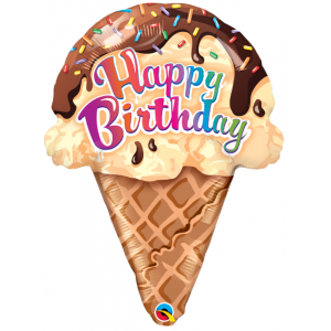 "27"" Foil Birthday Ice Cream Cone  (Non-Pkgd), QF27SI31187 (0) <10 個/Bag>"