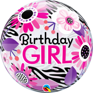 "Bubble 22"" Birthday Girl Floral Zebra Stripes (Pkgd.), QBB-13738 (0) <10 個/包>"