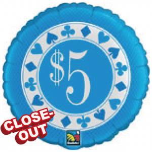 """20"""" Foil $5 Poker Chip (non-pkgd.), QF20SI31437 (D)"""