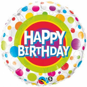"18"" Foil Happy Birthday Colorful Dots (Pkgd.), QF18RI41136 (0) <10 個/包>"