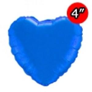 "Foil Heart 4"" Sapphire Blue / Air Fill (Non-Pkgd.), QF04HP23404 (0) <10 Pcs/包>"