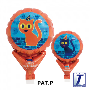 "Upright Balloon 5""/ Printed_Halloween Orange & Blue Cat (Non-Pkgd.), TK-UPB-I810561 <10 個/包>"