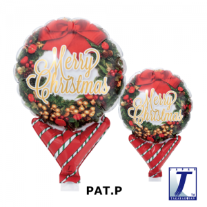 "Upright Balloon 5""/ Printed_Merry Christmas Wreath (Non-Pkgd.), TK-UPB-I810565 <10 個/包>"