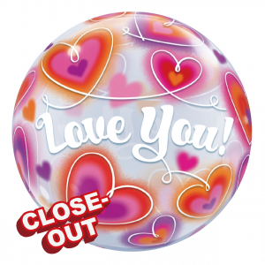 "Bubble 22"" Love You Doodle Hearts (Pkgd.), QBB-34072 (D)"