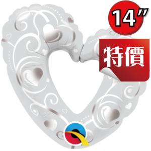 """14"""" Foil Hearts & Filigree Pearl White (Non-pkgd.),QF14SI40352"""
