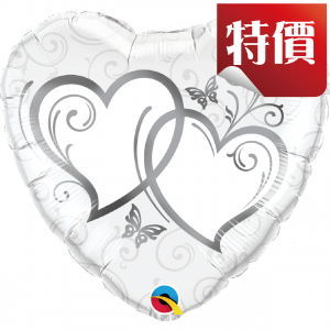 "18"" Foil Entwined Hearts Silver (pkgd.), QF18HI15746 (2)"
