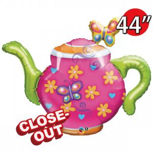 """44"""" Foil Teapot & Butterflies (non-pkgd.), QF36RI97518 (D)"""