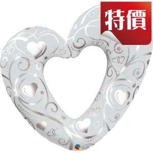"""42"""" Foil Hearts & Filigree Pearl White (pkgd.), QF42SI18421 (2)"""