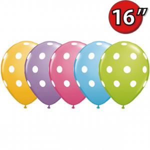 "16"" Big Polka Dots (SE) - Pale Blue, Goldenrod, Rose, Spring Lilac & Lime Green (50ct) , QL16RI27496 (0)"