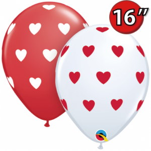 "16"" Big Heart (LAR) - White & Red (50ct) , QL16RI27537 (0)"