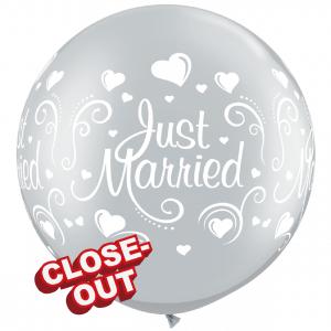 "30"" Just Married Hearts - Silver (2ct) , QL30RI18841 (D)"