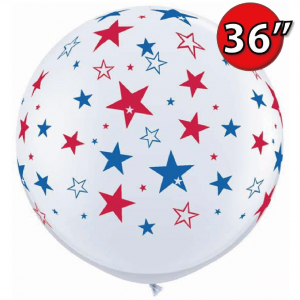 "36"" (3') Red & Blue Stars (BI) - White (2ct) , QL36RI29203 (0)"