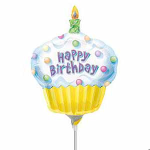 "Anagram Foil -Mini Shape- 14"" Cupcake Happy Birthday , A-A30-10107"