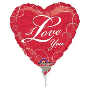 "Anagram Foil -Mini Shape-  9"" I Love You Swirls , #A-A15-23310"