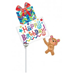 "Anagram Foil -Mini Shape- 14"" HBD Bear Holding Gifts , A-A30-30812"