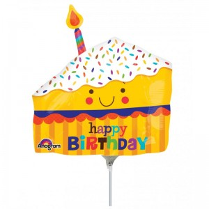 "Anagram Foil -Mini Shape- 14"" Happy Slice of Cake , A-A30-30819"