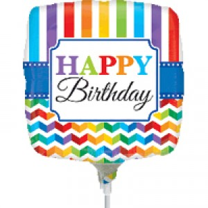 "Anagram Foil -Mini Shape- 9"" HBD Bright Stripe & Chevron , #A-A15-30892"