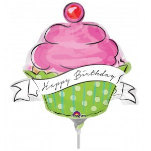"Anagram Foil -Mini Shape- 14"" Birthday Sweets Cupcake, A-A30-32620"