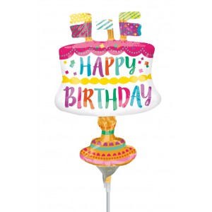 "Anagram Foil -Mini Shape- 14"" Fancy Cake With Flags , A-A30-33609"