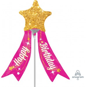 "Anagram Foil -Mini Shape- 19"" HBD Magical Star with Ribbon , A-A30-33822"