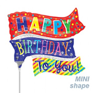 Anagram Foil -Mini Shape- HBD Fun Flags , A-A30-35662