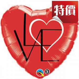 "18"" Foil L(HEART)VE Red (non-pkgd.), QF18HI46077 (2)"