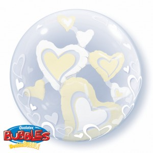 "Double Bubble 24"" White & Ivory Floating Hearts , *QBD-29489"