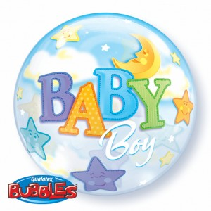 "Bubble 22"" Baby Boy Moon & Stars (Pkgd.), QBB-23597 (0) <10 個/包>"