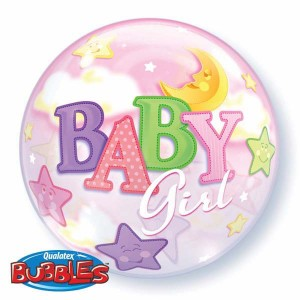 "Bubble 22"" Baby Girl Moon & Stars , *QBB-23598"