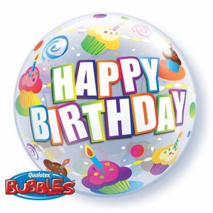 "Bubble 22"" Birthday Colorful Cupcake , *QBB-30799"