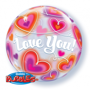 "Bubble 22"" Love You Doodle Hearts , QBB-34072"