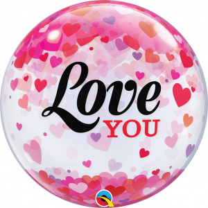 "Bubble 22"" Love You Confetti Hearts , QBB-54604"