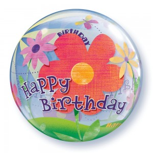 "Bubble 22"" Birthday Funky Flowers , *QBB-68650"