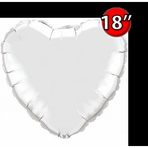 """Foil Heart 18"""" Silver (Non-Pkgd.), QF18HP23138 (0) <10 Pcs/包>"""