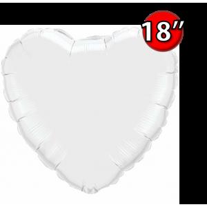 "Foil Heart 18"" White (Non-Pkgd.), QF18HP23762 (0) <10 Pcs/包>"