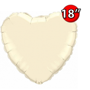 "Foil Heart 18"" Pearl Ivory (Non-Pkgd.), QF18HP99347 (0) <10 Pcs/包>"