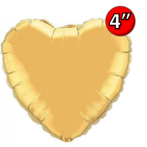 "Foil Heart 4"" Metallic Gold / Air Fill (Non-Pkgd.), QF04HP36336 (0) <10 個/包>"