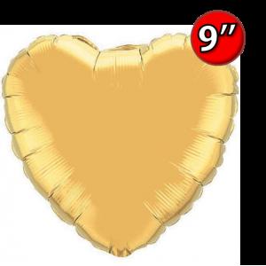 """Foil Heart 9"""" Metallic Gold / Air Fill (Non-Pkgd.), QF09HP36334 (0) <10 Pcs/包>"""