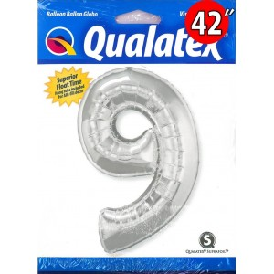"""Qualatex _ 42"""" Number【9】Silver 銀色 (Pkgd.), QF42NP30433"""