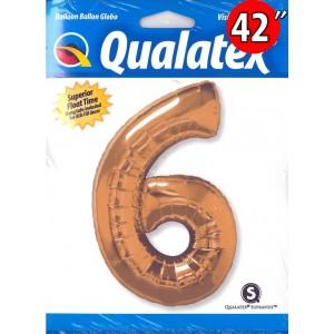 "Number Metallic Gold 數字【6】42"" , QF42NP30493 <Helium #C>"