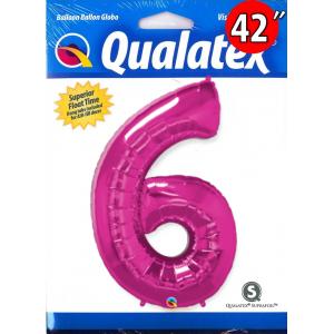 """Qualatex _ 42"""" Number 【6】Magenta 桃紅色數字 (Pkgd.), QF42NP30575"""