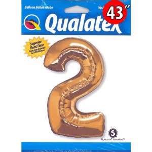 "Number Metallic Gold 數字【2】43"" , QF43NP30477 <Helium #C>"