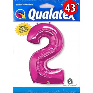 """Qualatex _ 43"""" Number 【2】Magenta 桃紅色數字 (Pkgd.), QF43NP30559"""