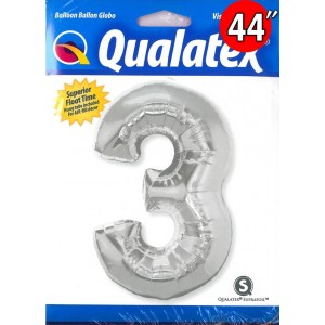 """Number Silver 數字【3】44"""" , QF44NP30409 <Helium #C>"""