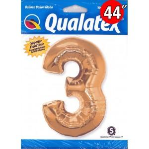 Qualatex _ Number 【3】Metallic Gold 金色數字 (Pkgd.), QF44NP30481