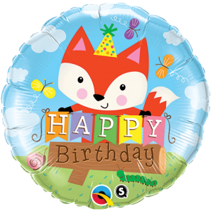 "18"" Foil Birthday Psety Fox (pkgd.) , QF18RI25176"