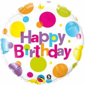 """18"""" Foil Birthday Big Polka Dots (pkgd.) , QF18RI29827"""
