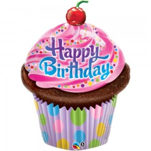 """35"""" Foil Birthday Frosted Cupcake (non-pkgd.), QF35SI30679 (0) <10 個/包>"""