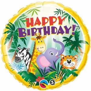 "18"" Foil Birthday Jungle Friends (pkgd.) , QF18RI31014"